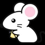 チーズを食べる白いネズミの無料イラスト(2)