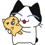 赤ちゃんを抱っこする猫の無料イラスト