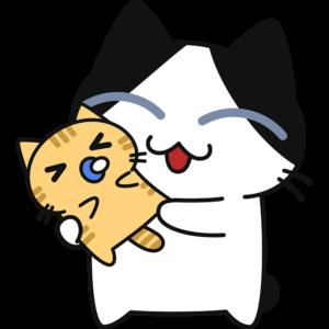 赤ちゃんを抱っこする猫