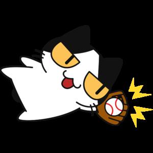 野球:ダイビングキャッチをする猫
