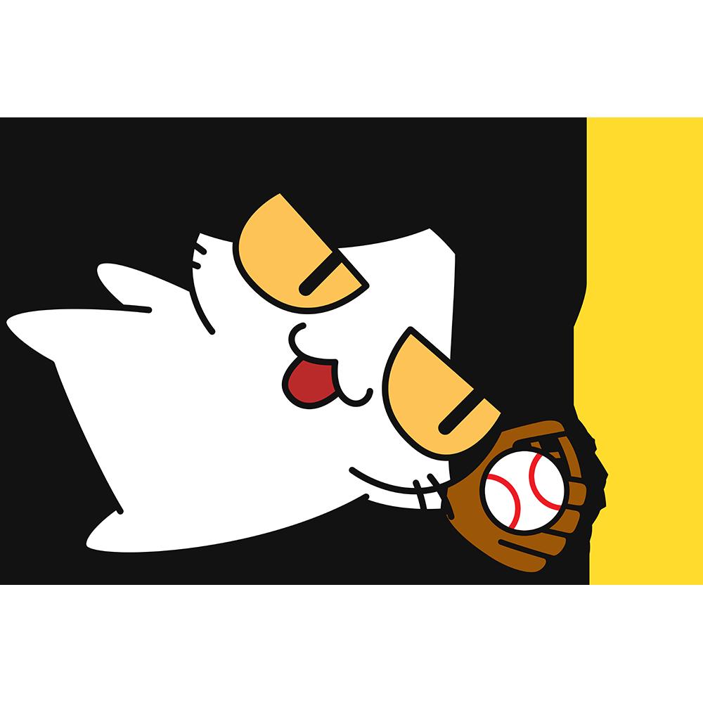 野球:ダイビングキャッチをする猫の無料イラスト