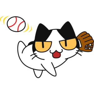 野球:ボールを投げる猫の無料イラスト