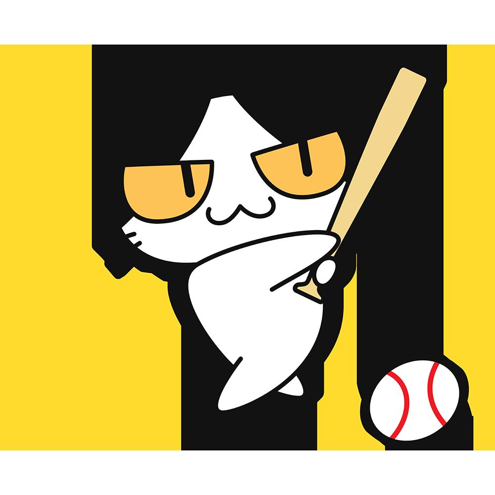 野球:ボールを打つ猫の無料イラスト