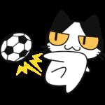 サッカー:シュートをする猫の無料イラスト