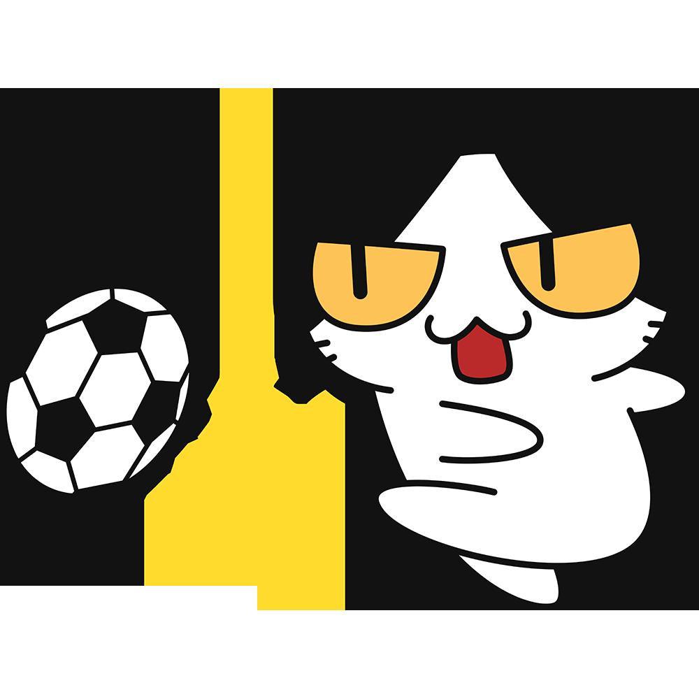 サッカー:強烈なシュートをする猫の無料イラスト