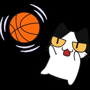 バスケ:ジャンプシュートをする猫