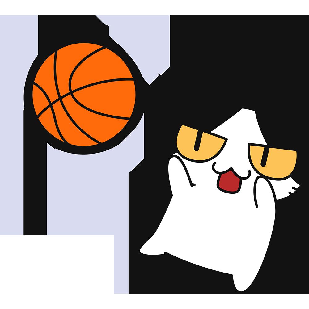 バスケ:ジャンプシュートをする猫の無料イラスト