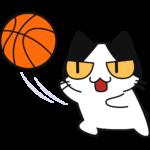 バスケ:レイアップシュートをする猫の無料イラスト
