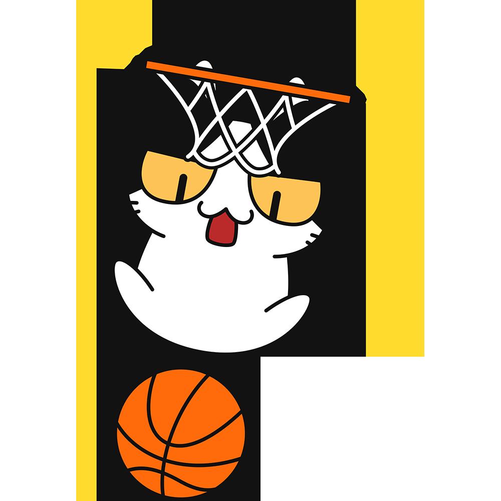 バスケ:ダンクシュートをする猫の無料イラスト