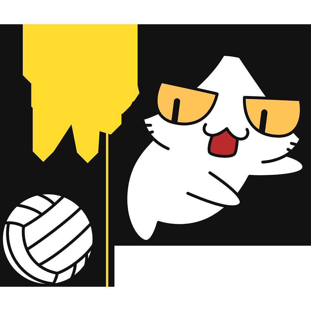 バレー:豪快なスパイクを打つ猫の無料イラスト