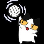 バレー:スパイクを打つ猫の無料イラスト
