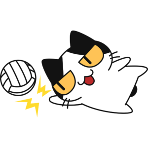 バレー:レシーブをする猫の無料イラスト