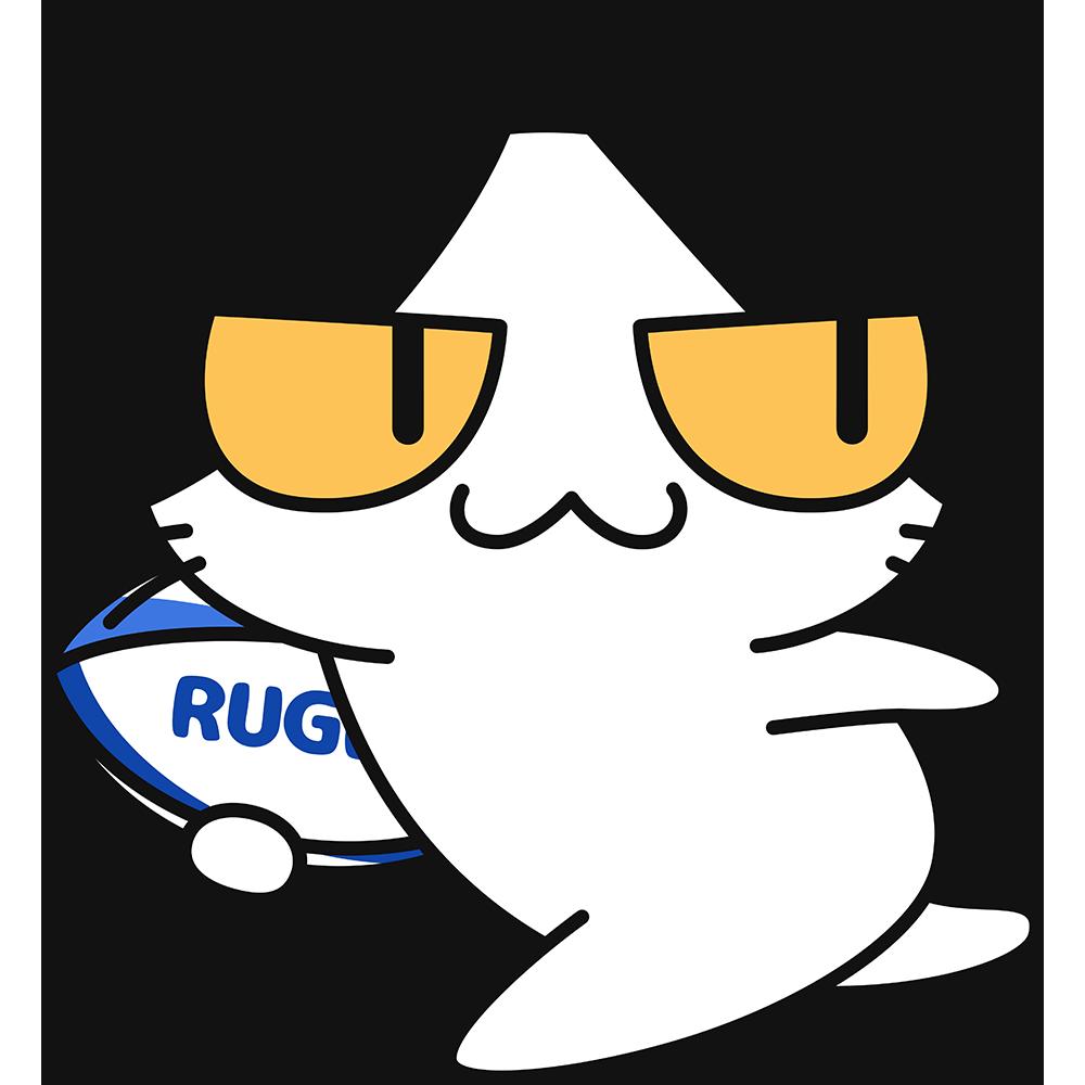 ラグビーボールを持って走る猫の無料イラスト