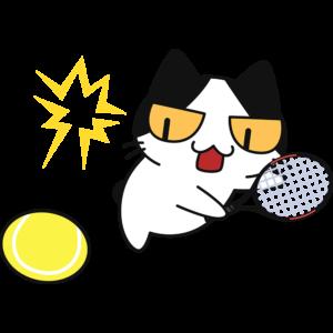 テニス:スマッシュをする猫
