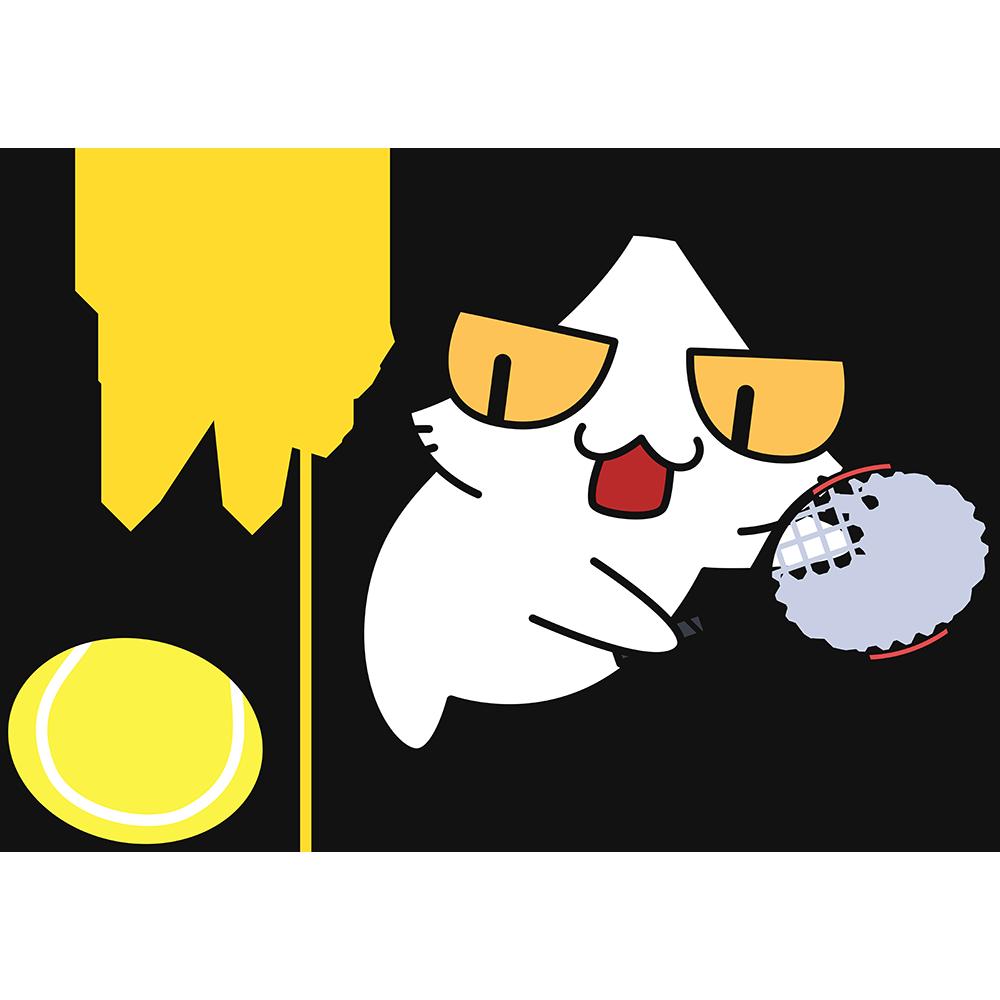 テニス:スマッシュをする猫の無料イラスト