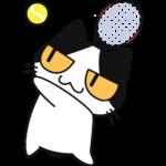 テニス:サーブをする猫の無料イラスト