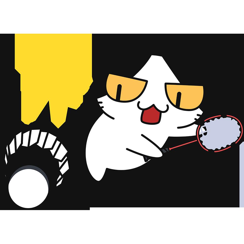バドミントン:スマッシュを打つ猫の無料イラスト