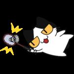 バドミントン:シャトルを打ち返す猫の無料イラスト