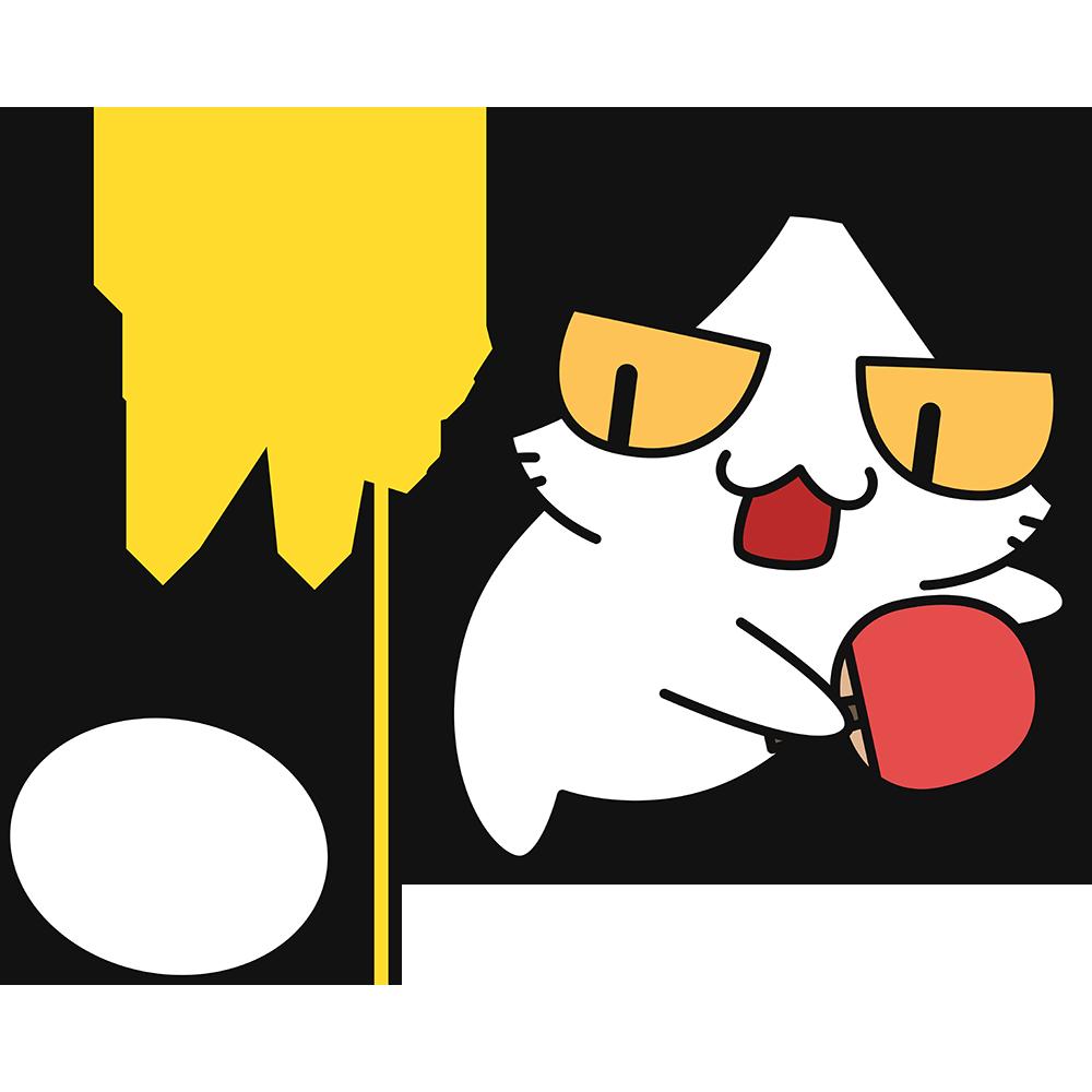 卓球:スマッシュをする猫の無料イラスト