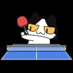 卓球:サーブをする猫の無料イラスト