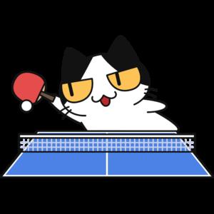 卓球:ボールを打つ猫の無料イラスト