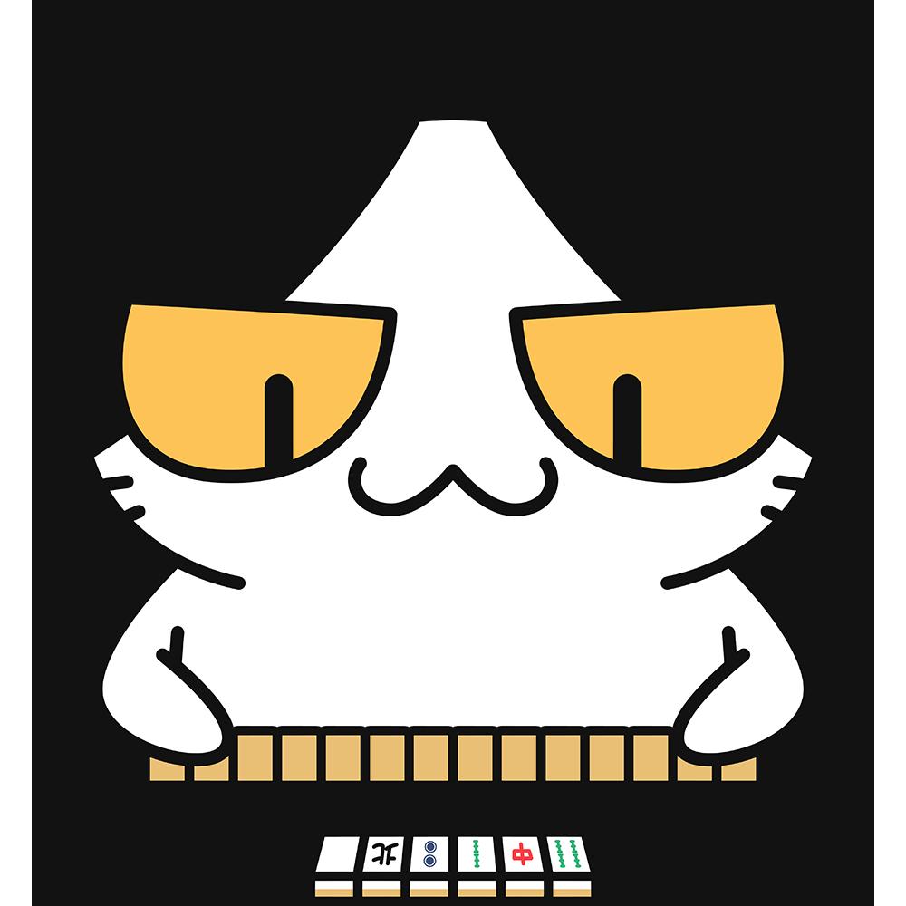 マージャン(麻雀)をする猫の無料イラスト