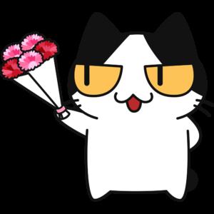母の日にカーネーションをプレゼントする猫