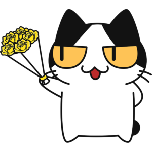 父の日に黄色いバラをプレゼントする猫