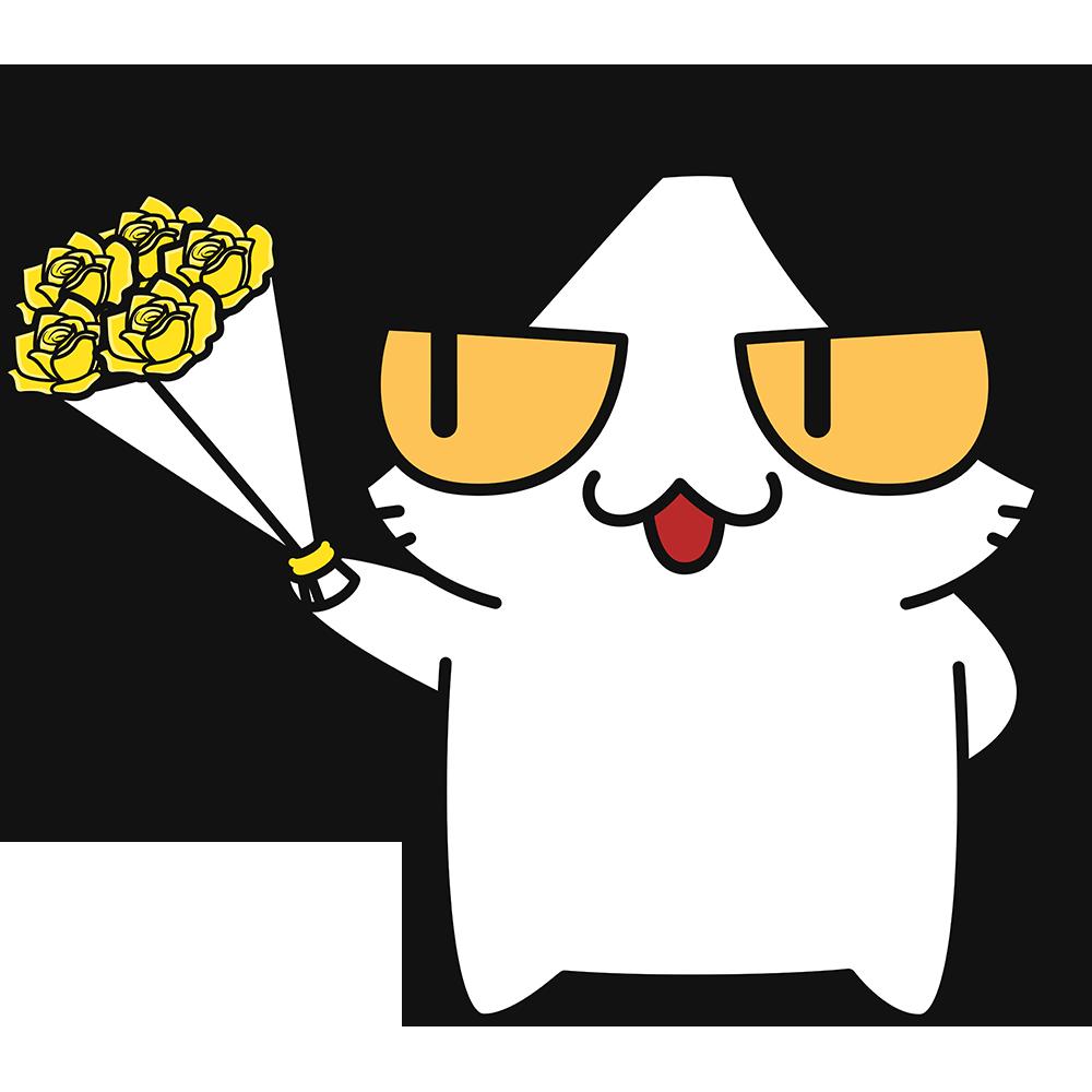 父の日に黄色いバラをプレゼントする猫の無料イラスト