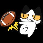 アメフトボールを蹴る猫の無料イラスト