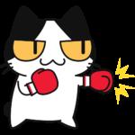 ボクシングをする猫の無料イラスト