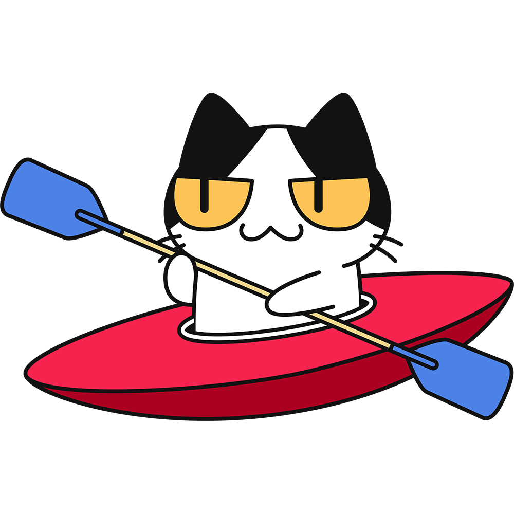 カヌー・カヤックを漕ぐ猫の無料イラスト