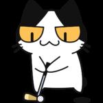 ゴルフ:パターでボールを打つ猫の無料イラスト
