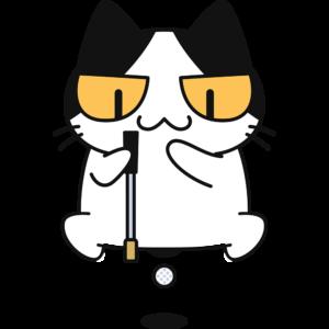 ゴルフ:芝のラインを読む猫