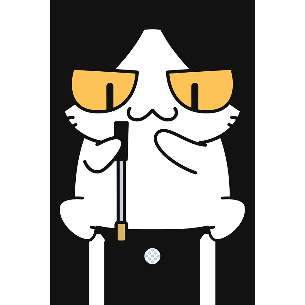 ゴルフ:芝のラインを読む猫の無料イラスト