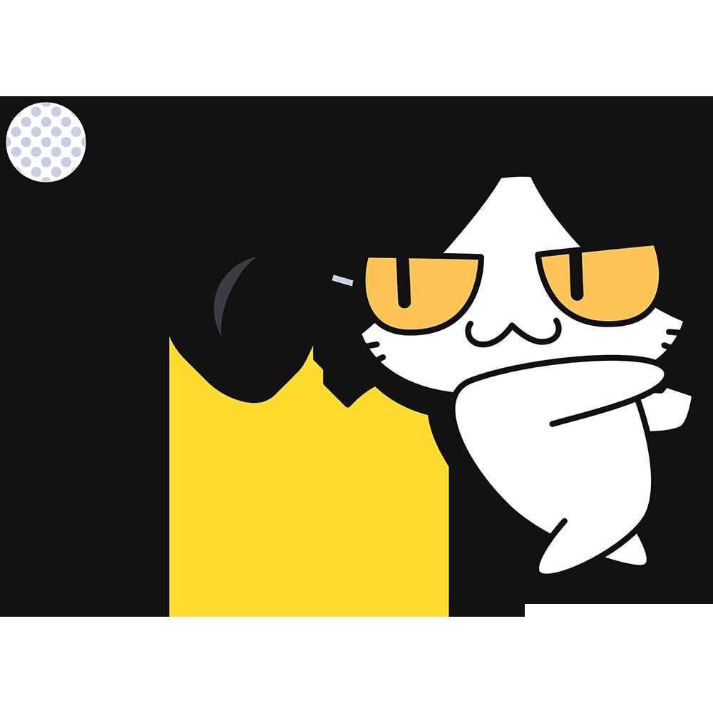 ゴルフ:ドライバーでボールを打つ猫の無料イラスト