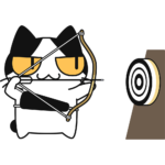 弓道をする猫の無料イラスト