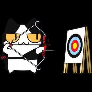 アーチェリーをする猫の無料イラスト