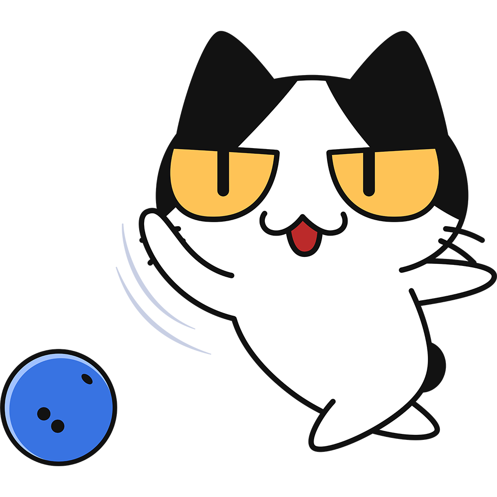 ボーリングをする猫の無料イラスト