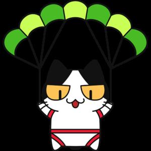 パラグライダーをする猫