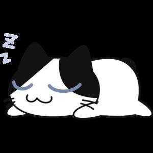 ぐっすり寝ている猫の無料イラスト
