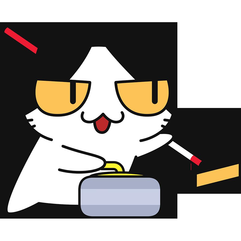 カーリングをする猫の無料イラスト