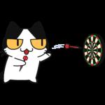 ダーツをする猫の無料イラスト