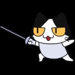 フェンシングをする猫の無料イラスト