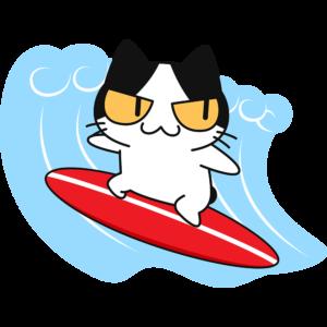 サーフィンをする猫の無料イラスト