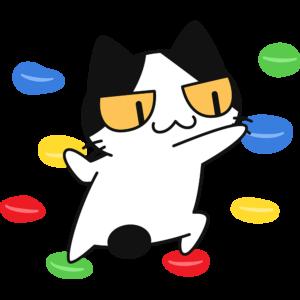 ボルタリングをする猫の無料イラスト