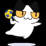 ハンドボールをする猫の無料イラスト