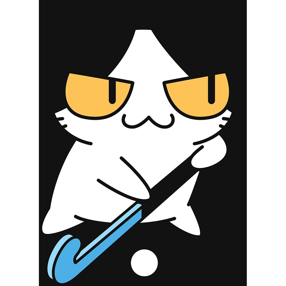 ホッケーをする猫の無料イラスト
