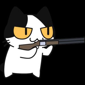 射撃をする猫