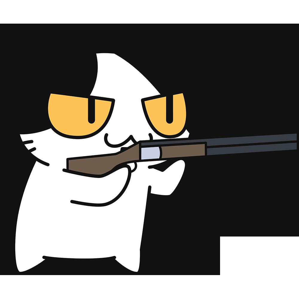 射撃をする猫の無料イラスト